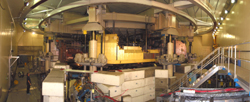 The Cyclotron in the Vault with the lid raised for servicing